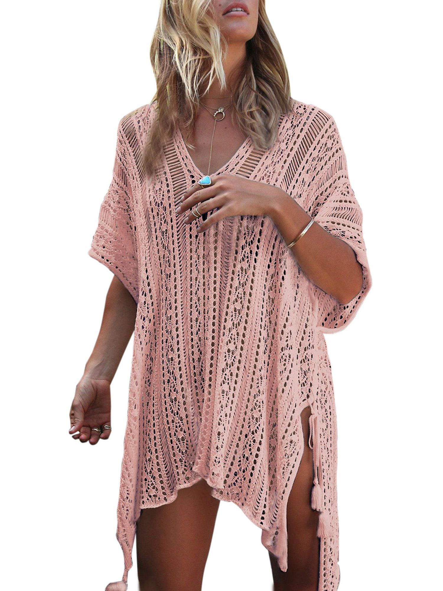 12941cbc86f Women Hollow Out Beach Swimsuit Cover ups Tassel V Neck Loose Knitted Bikini  Bathing Suit Summer Swimwear Crochet Dress#ups, #Cover, #Neck