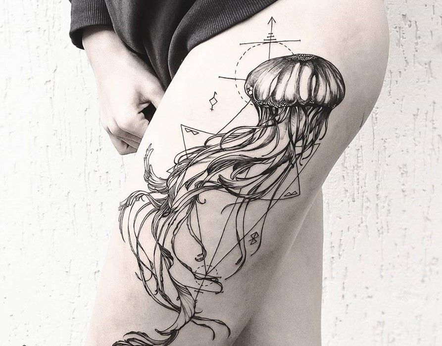 Line Drawing Jellyfish : Jellyfish tattoo diana severinenko design of tattoos lines and