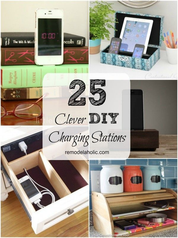 Remodelaholic Get Rid Of Cord Clutter With These 25 Diy Charging Stations Charging Station Diy Diy Hanging Shelves Electronic Charging Station