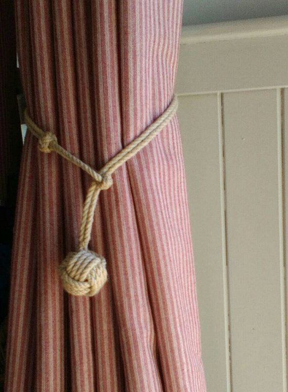 Rope Curtain Tie Backs Handmade With Monkey S Fist And Turks Head Knots Pair Beach Decor Rustic Coastal Cottage Trend