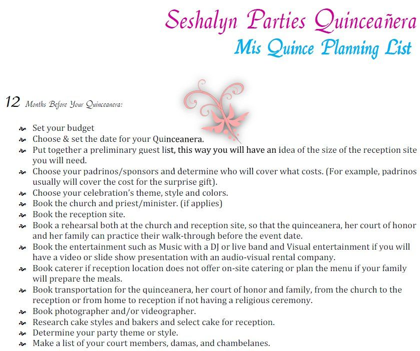Quinceanera planning timeline guide party ideas by for How to plan a party