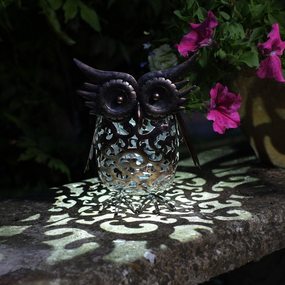 Smart Garden Solar Powered Metal Owl Decorative Silhouette Scroll LED Light