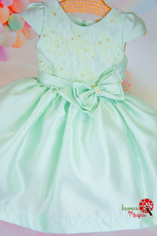 4e1e0b5d7de1 Vestido Infantil de Festa Verde Água Petit Cherie
