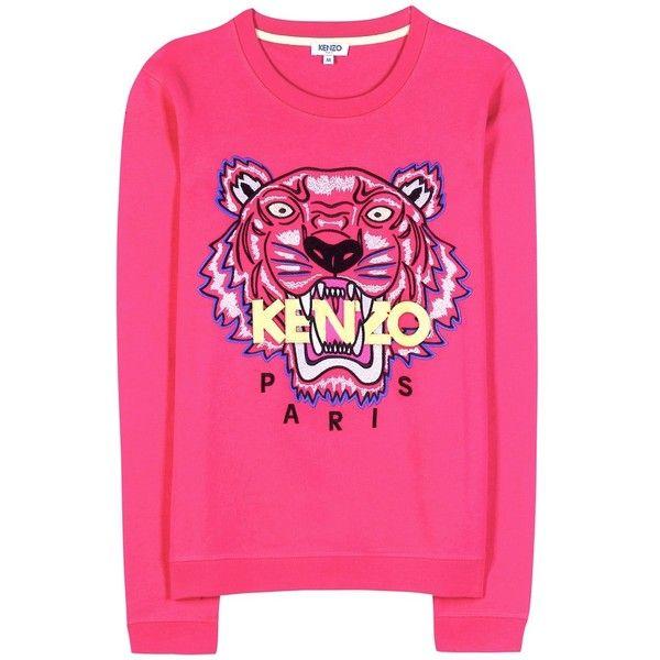 Kenzo Embroidered Cotton Sweatshirt (1 980 SEK) ❤ liked on Polyvore featuring tops, hoodies, sweatshirts, sweaters, pink, kenzo tops, pink sweatshirts, embroidered top, kenzo and kenzo sweatshirt
