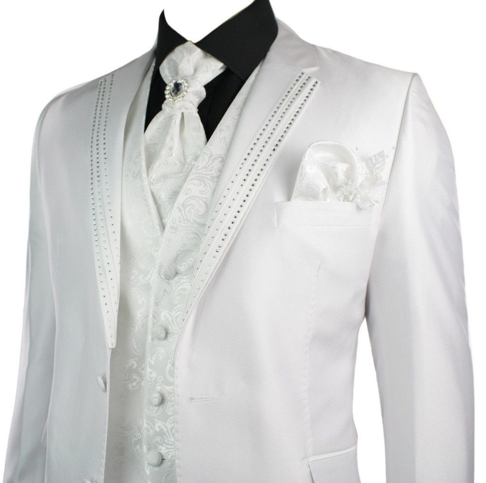 Mens Wedding Party Suit White Diamonte Design Waistcoat Cravat Blazer Trouser