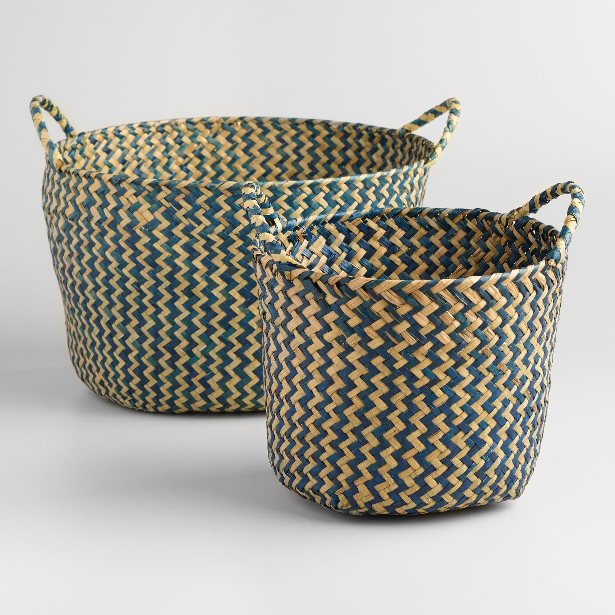 Our Round Baskets Feature An Indigo Hue And Sturdy Side