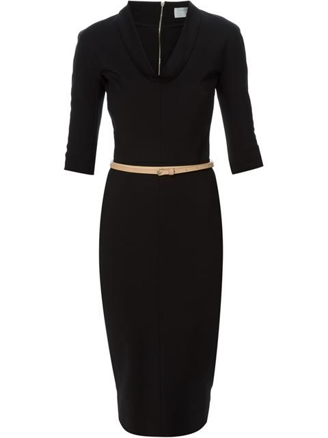 Shop Victoria Beckham cowl neck belted dress