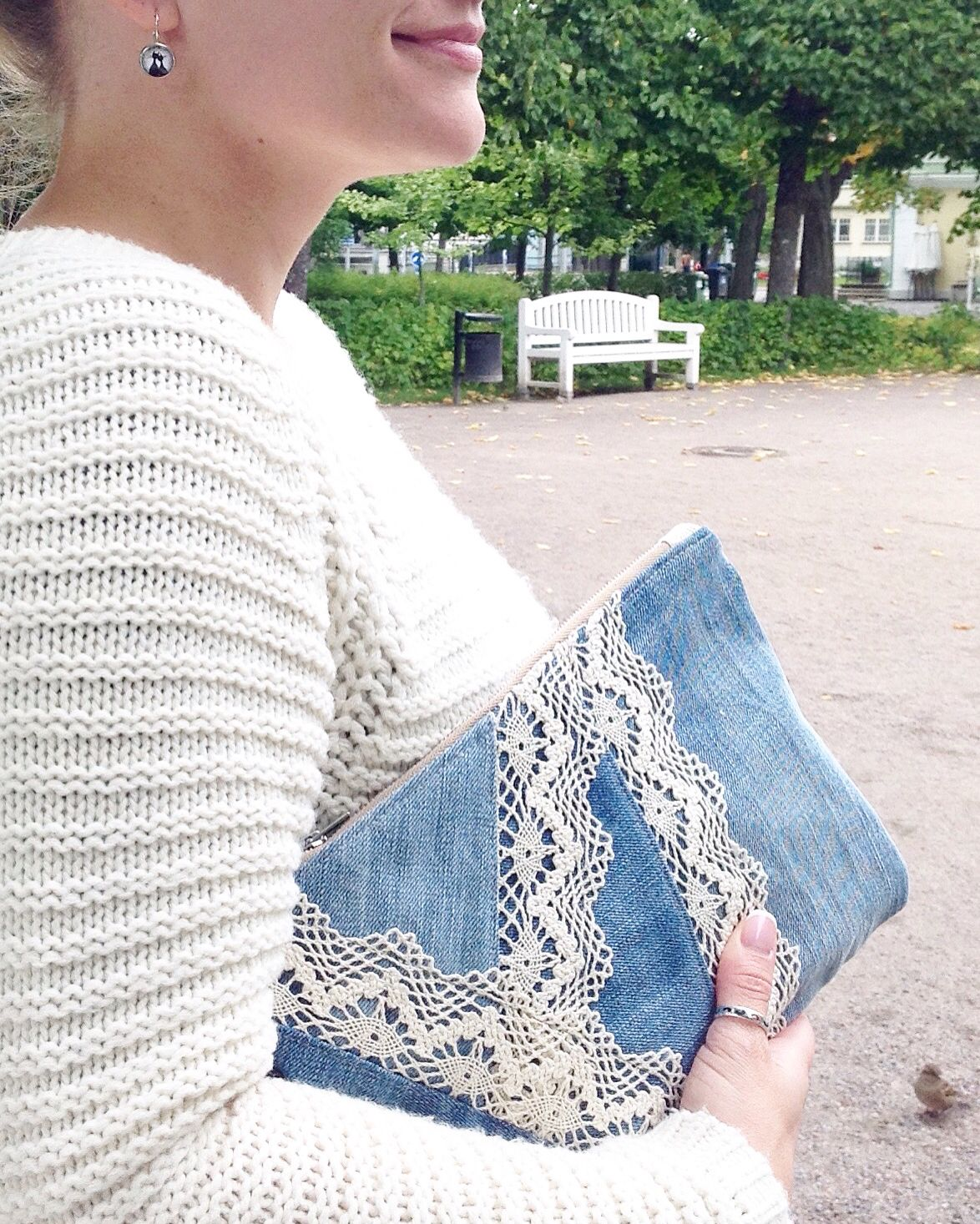 DENIM wristlet with lace detailing // patchwork style // recycled ...