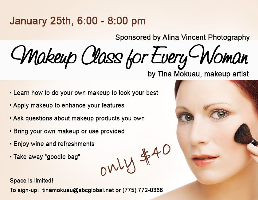 makeup class for every woman sponsored by alina vincent