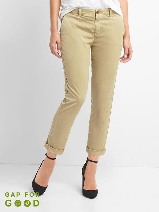 süß zarte Farben neue Version Gap Women's Girlfriend Twill Stripe Chino Pants Iconic Khaki ...
