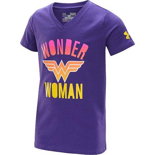 styl mody odebrane wspaniały wygląd UNDER ARMOUR Girls' Alter Ego Wonder Woman V-Neck Short ...
