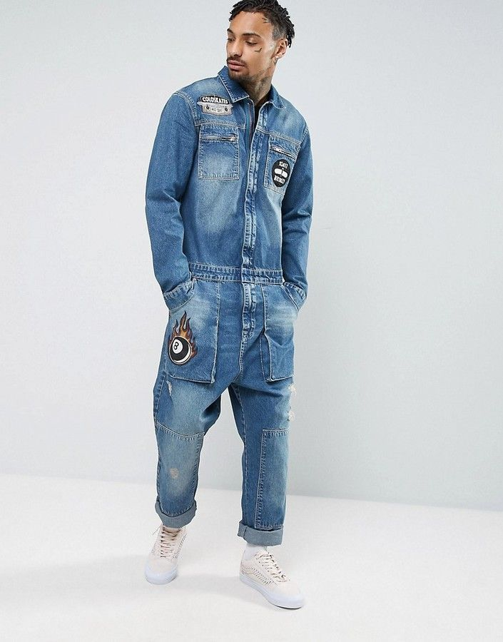 Asos Denim Boiler Suit With Badges In Mid Blue Men Jeans