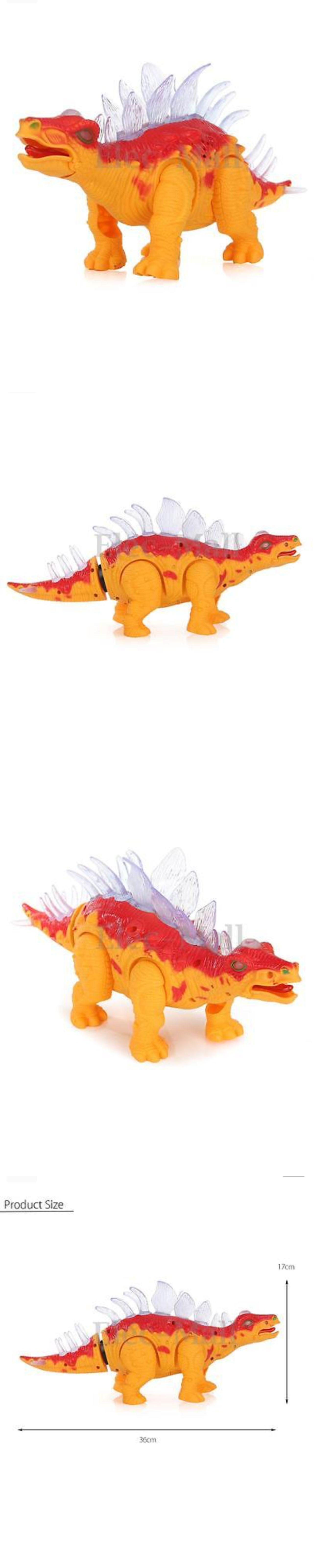 Walking  Dinosaur Stegosaurus Kids Light Up Toy Action Figure Sounds Movement
