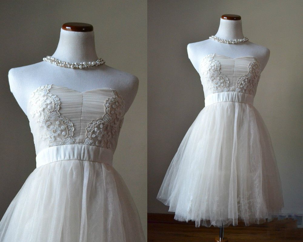 Vintage s style dress off white short party dress s tulle