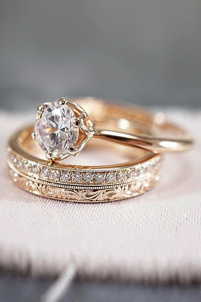 30 Rose Gold Wedding Rings You Ll Fall In Love A Little Bit Of Bling Pinterest Weddings Rounding And