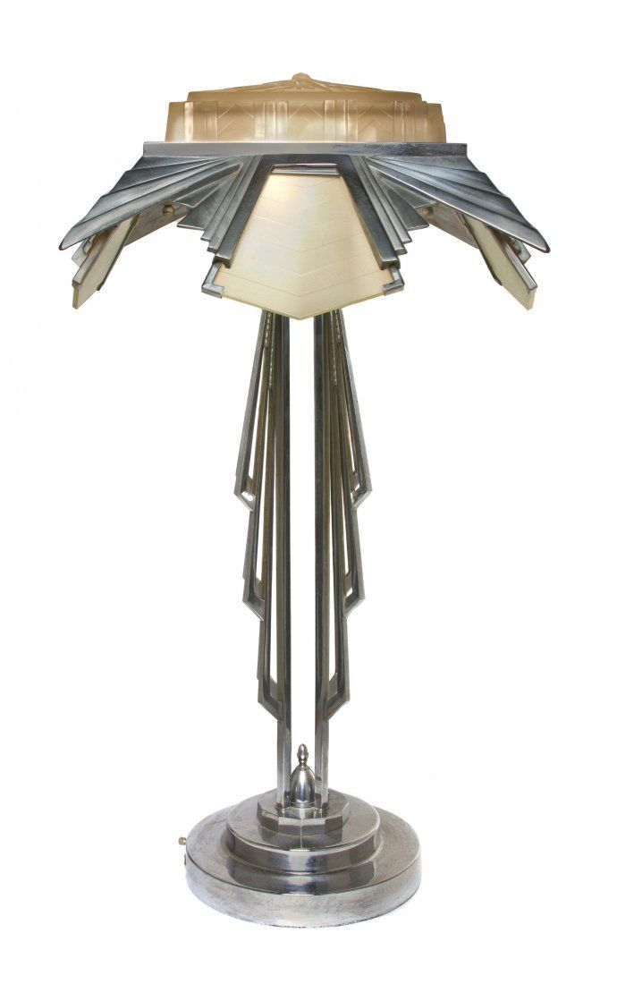 An Art Deco Style Chrome And Molded Glass Table Lamp The Diffusers And Stem With Geometric Decoration Raised Art Deco Lamps Art Deco Table Art Deco Furniture