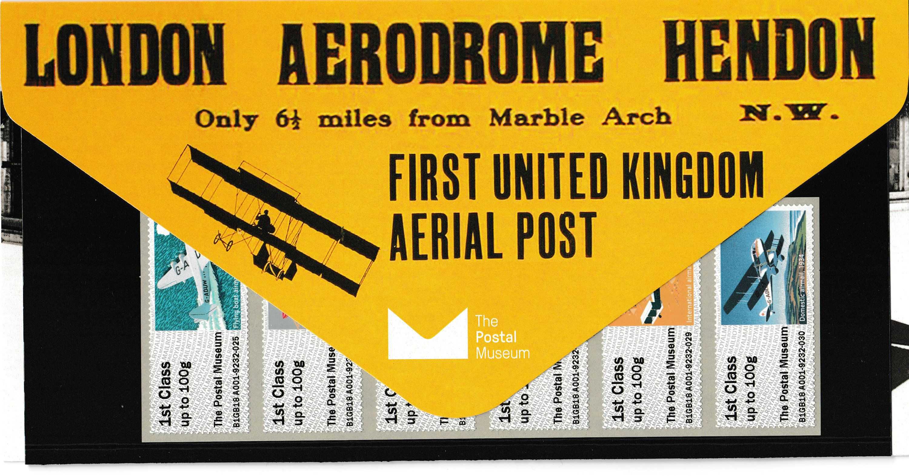 Mail By Air Postal Museum Post & Go Stamps in presentation