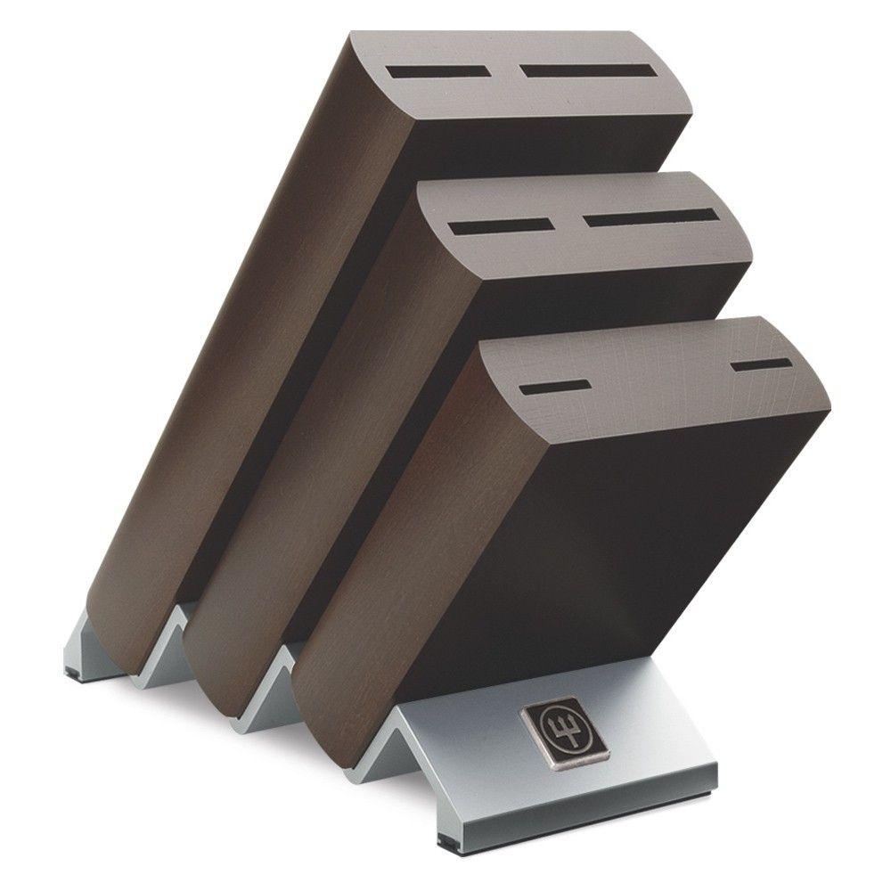 ikon 6 piece knife block with metal base dark wood from wusthof