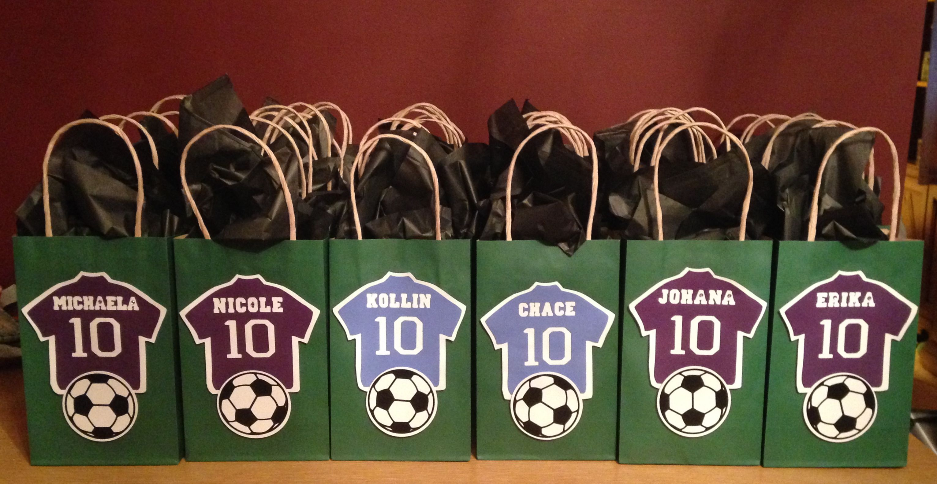 333e9e9b9bb Soccer Goody Bags I made for Lucas' 4th Grade Classmates. Purple Jerseys  for the girls and Blue Jerseys for the boys, with their name and the #10 in  honor ...