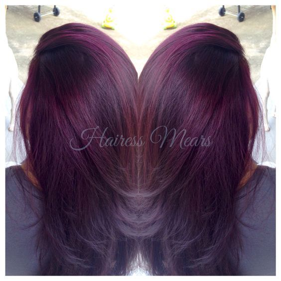 Black Raspberry Sangria Lightened To Level 9 Dark Red Violet With Red Highlights And Color Melt To Black Ends Olaplex Violet Hair Gorgeous Hair Hair Styles