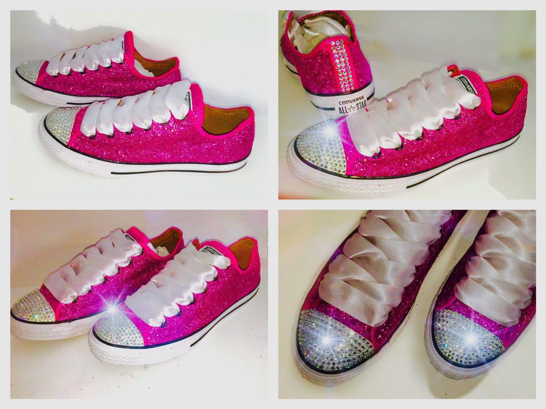 1ef8c8aee83 Womens Sparkly Fuschia hot neon pink or magenta Glitter Swarovski ...