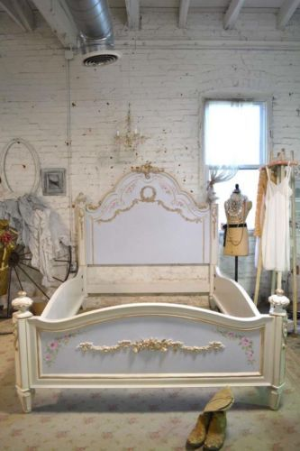 Painted Cottage Chic Shabby Romantic French King Queen Bed Headboard ...