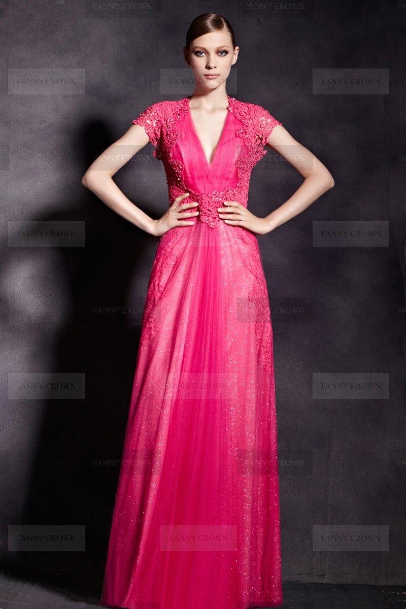 Sexy V-neck Long Fuchsia Evening Dress | Fanny Crown | Dresses JBM ...