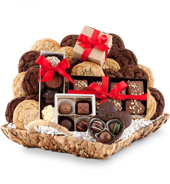 Image result for chocolate and cookies gift baskets