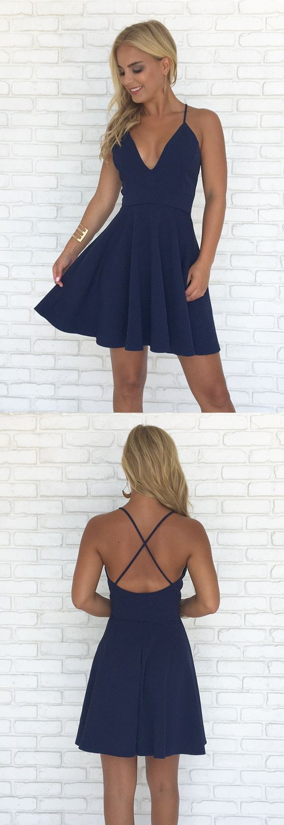 Aline spaghetti straps vneck backless short simple cheap
