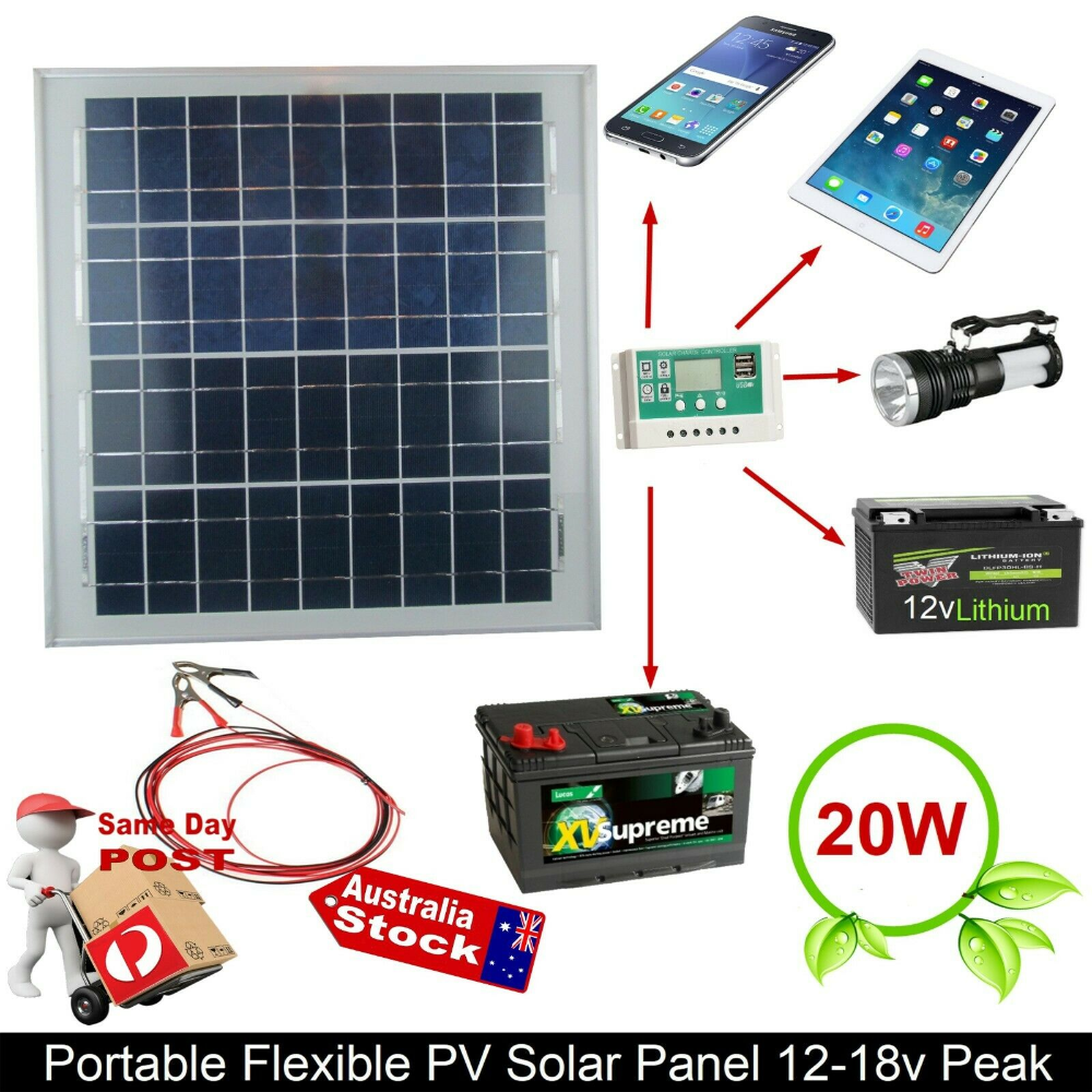 12v 18vdc Monocrystalline 20w Solar Panel Charge Battery Trickle Charger Car 607111024620 Ebay En 2020
