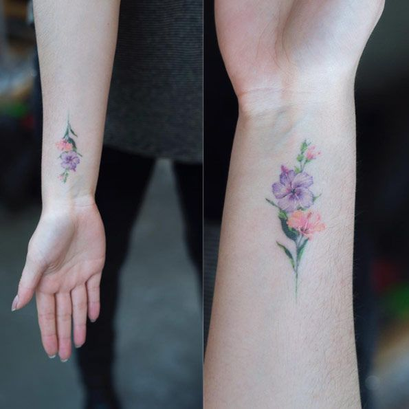 40 cute and tiny floral tattoos for women pinterest for Delicate wrist tattoo designs