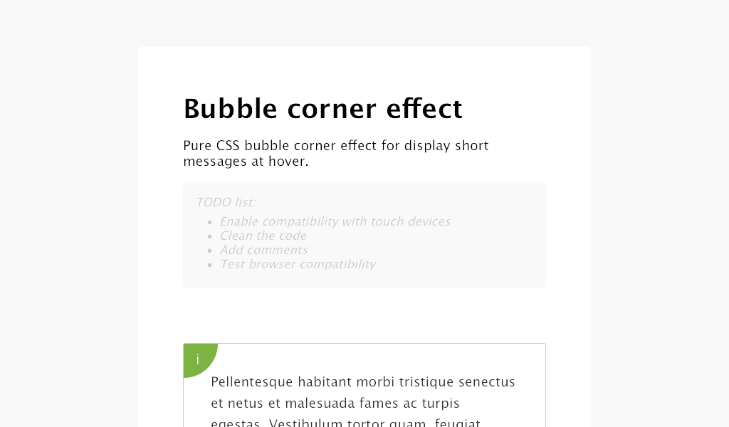 Pure CSS bubble corner effect for display short messages at hover
