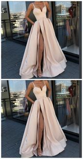 Photo of Champange Prom Dress Belt V-neck Evening DressesSatin Evening Dre