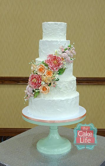 Rustic wedding cake, textured buttercream and sugar flowers