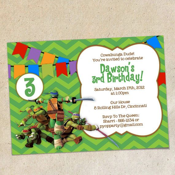 Teenage Mutant Ninja Turtles Invitation Template by PrintYOParty – Ninja Turtle Party Invitation