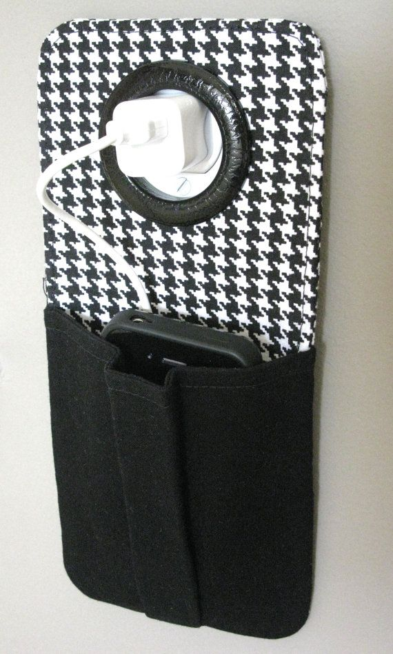 iPhone Cell Phone Pocket, iPod Touch, Smart Phone Wall Socket Charging Holder, Docking Station, Charging Station, Cell Phone Charger Pouch, Classy Houndstooth Fabric