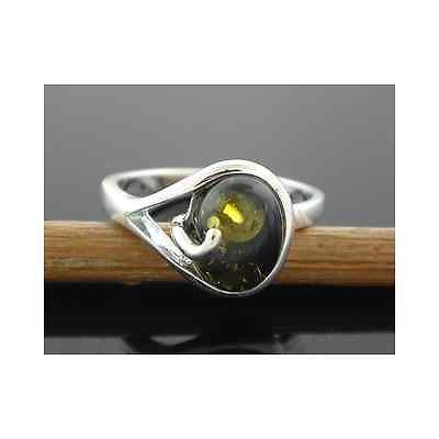 Sterling Silver Green Oval Amber Solitaire & Swirl Ring Size 7