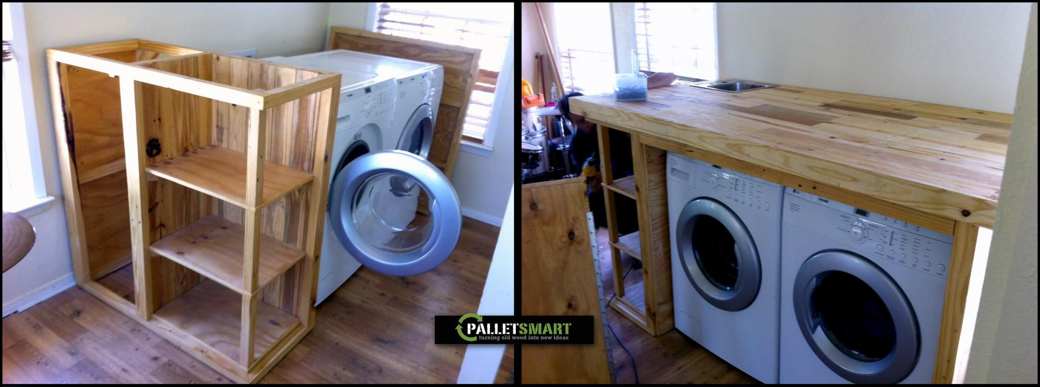 Washer and Dryer built in enclosure, made from recycled wood pallets