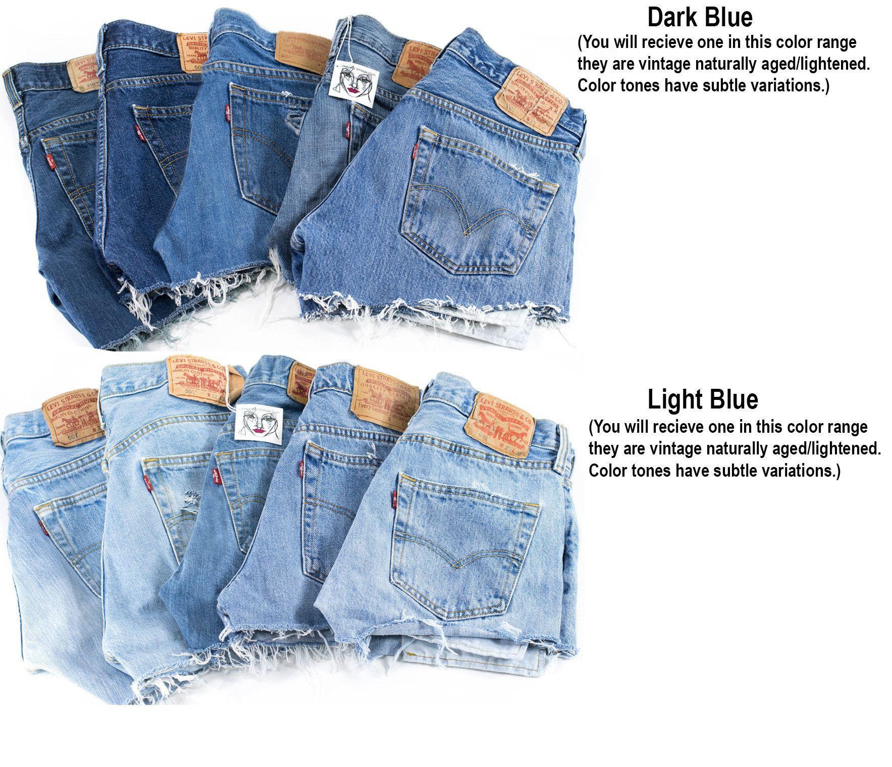 Levi Denim Cutoff Shorts Mid High Waist Custom Fit Jean In Cut Jeans Black Blue Tattered 1970s Distressed Highwaist