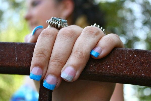 Fancy French Blue And Grey Acrylic Nail Design Ideas For Prom