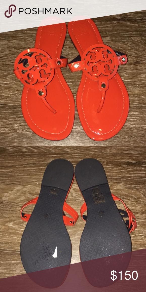 afbae414b Tory Burch Orange Patent Miller Sandals 8 New store display Tory Burch  Shoes Sandals
