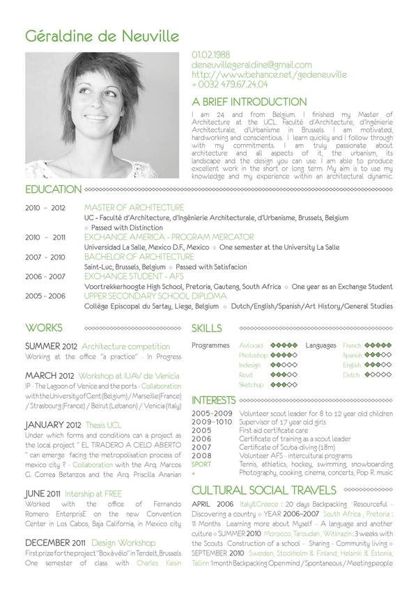 RESUME by Géraldine de Neuville, via Behance GRAPHIC - architecture student resume