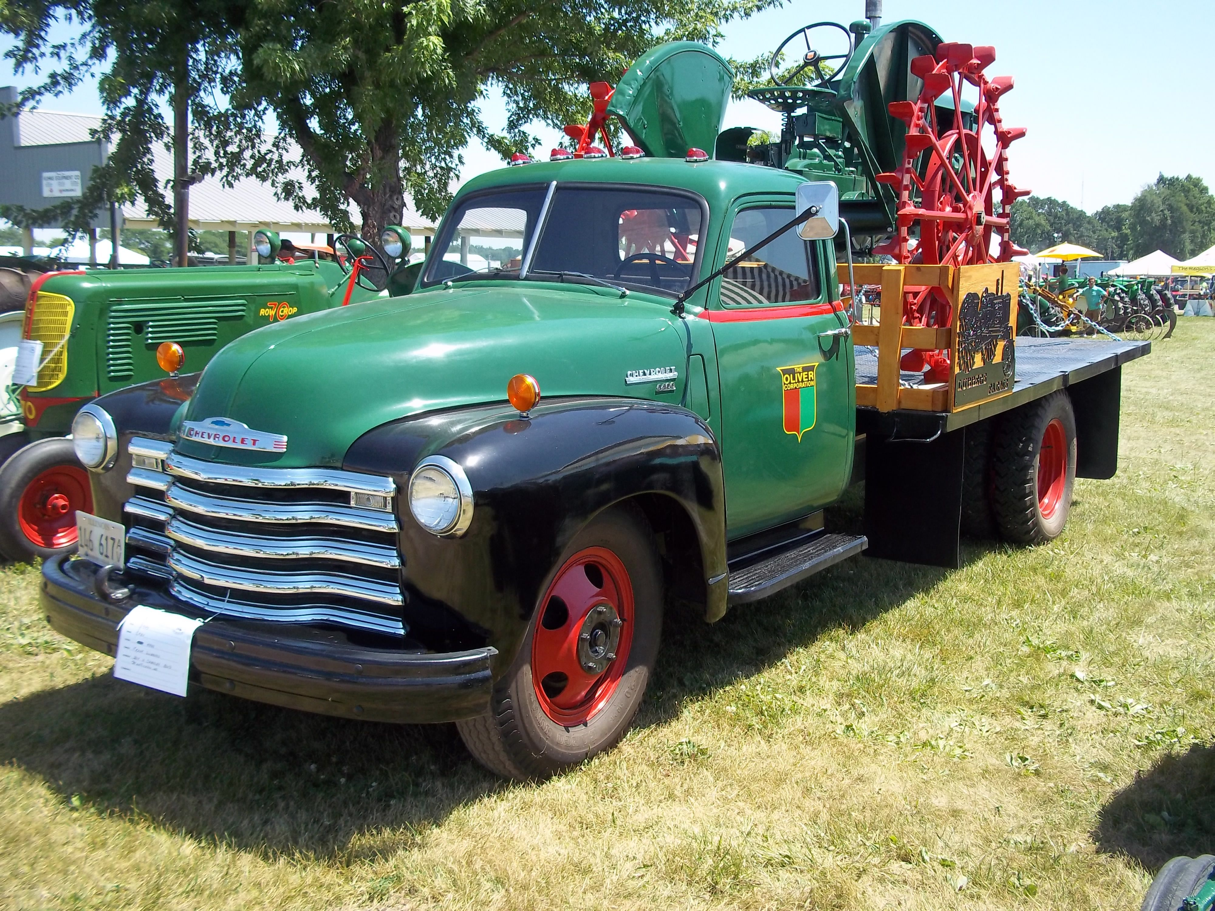 1950s Chevy 4400 With Oliver Tractor Classic Chevy Trucks