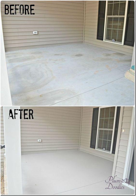Our Front Porch Concrete Repair - peinture exterieure sol beton