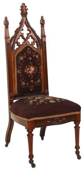 Exceptional Gothic Carved Rosewood Sidechair : Lot 422 Photo