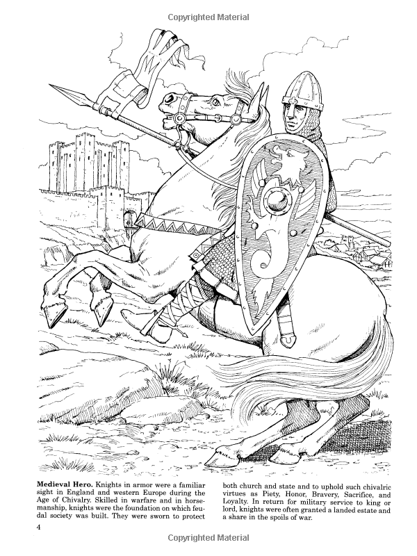 Medieval Jousts And Tournaments Dover History Coloring Book