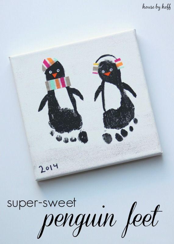 Penguin Christmas Cards Footprint.Super Sweet Penguin Feet Diy Ideas Christmas Crafts