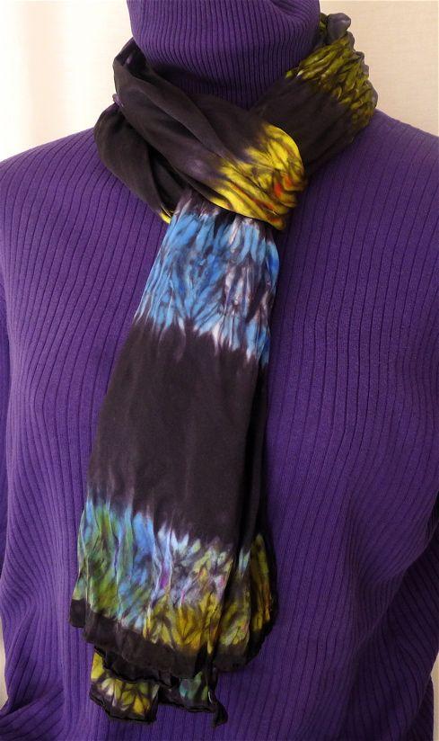 Silk scarf, shibori wood pattern, multi colored by Beech Hill