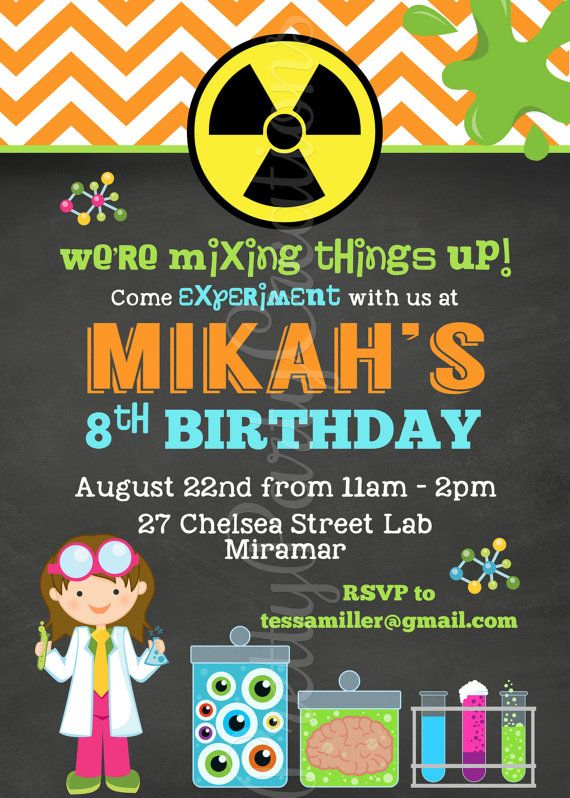 LITTLE SCIENTIST invitation in Chalkboard and Chevron You Print