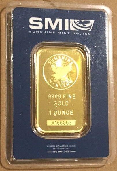 1 Oz Sunshine Mint Smi Gold Bar 9999 Fine In Assay Gold Bar Mint Bar Gold